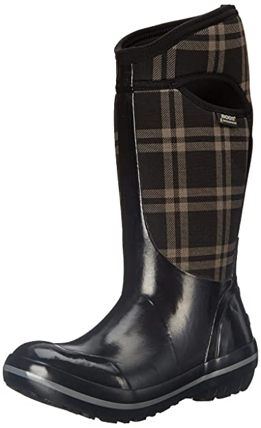 Bogs Womens Plimsoll Plaid Tall Waterproof Insulated Boot       Black