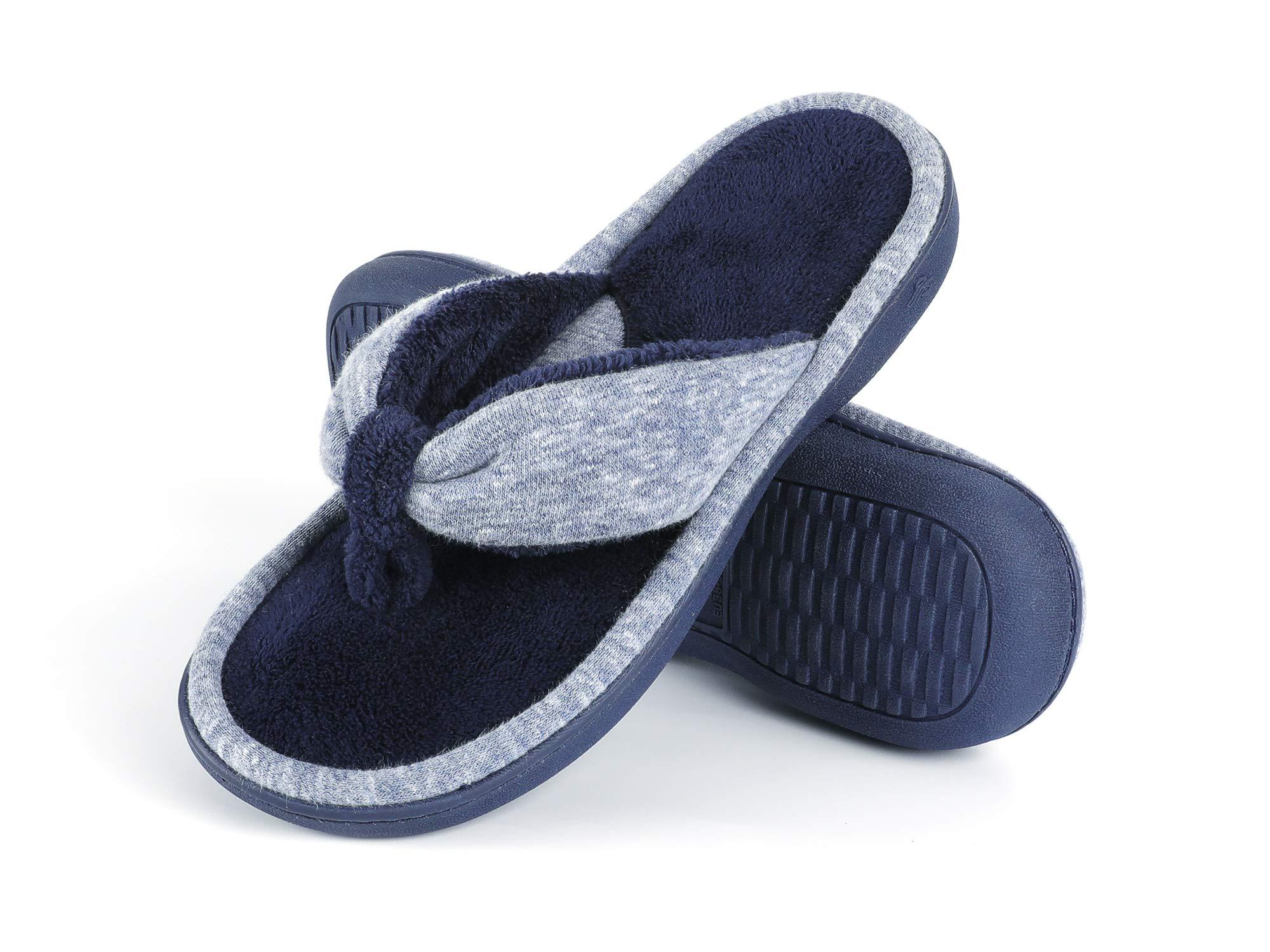 Wishcotton Women's Adjustable Memory Foam Flip Flop Slippers Cozy Lightweight Open Toe House Shoes
