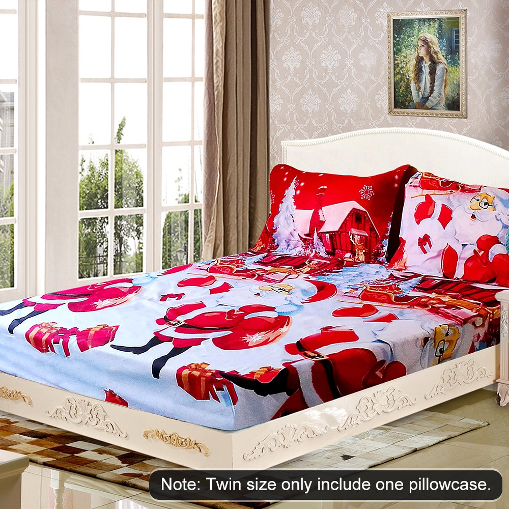 Decdeal Christmas Bedding Set 3D Printed Duvet Cover Bed Sheet Set Christmas Bedroom Decorations Twin//Full//Queen//King Size 2pcs Pillowcases
