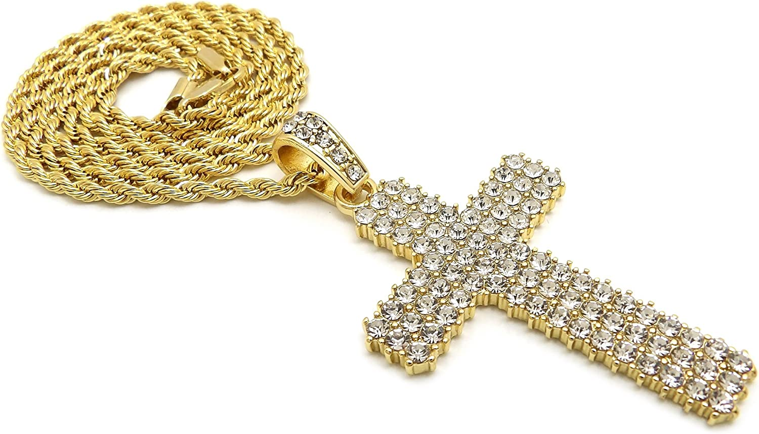 18 20 or 24 Inches Crown Gold Rhodium Stone Stud Cross Pendant Necklace