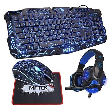 Gaming Tastatur Set, MFTEK USB Verdrahtet QWERTZ: Amazon.de ...