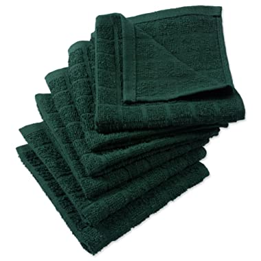 DII Cotton Terry Windowpane Dish Cloths, 12 x 12  Set of 6, Machine Washable and Ultra Absorbent Kitchen Bar Towels-Solid Dark Green