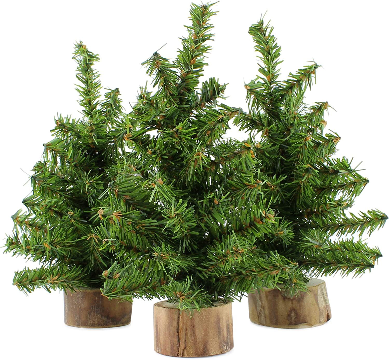 AuldHome Mini Christmas Trees (3-Pack, 8-Inch); Canadian Pine Greenery Tabletop Holiday Decor