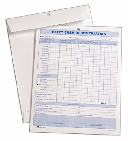 TOPS Petty Cash Reconciliation Envelope, 24 Pound Kraft, 8.5 X 11 Inches,  Open