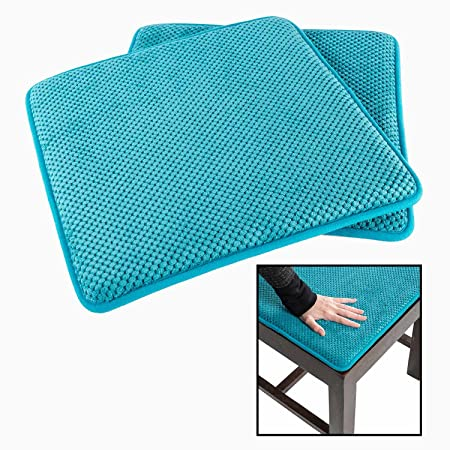 Homescapes Cobalt Blue Memory Foam Seat Pads Set Of 2 With Non Slip Backing  Soft