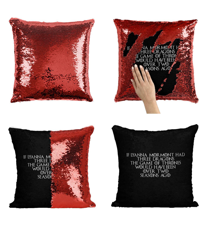 Lyanna Mormont 面白い引用句 ゲームオブスローンズ スパンコール枕カバー マーメイド枕 リバーシブル枕 枕カバー 面白い枕 クリスマス 誕生日 ギフト プレゼント セレブアニメ ファンアート (クッションカバー)   B07MSH6H8Y