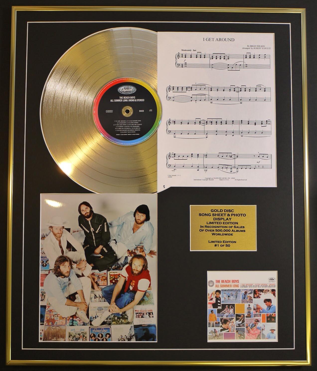 GOLD RECORD Beach Boys//CD Disco DE Oro Todas Las s/ábanas de Verano largas//de canci/ón Song Sheet /& Photo Display//LTD Edici/ón//carb/ón///álbum me Encargo