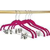 Utopia Home Premium Velvet Hangers (Pack of 12) Heavy Duty - Non Slip - Velvet Suit Hangers with Clips For Pants or Skirt Hanger - by (Pink)
