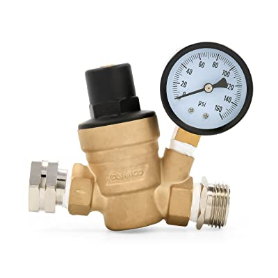 Camco 40058 Adjustable Brass Water Pressure Regulator - Helps Prevent Damage To Appliances and Plumbing Fixtures From High Water Pressure, Great for RVs and Boats: Automotive
