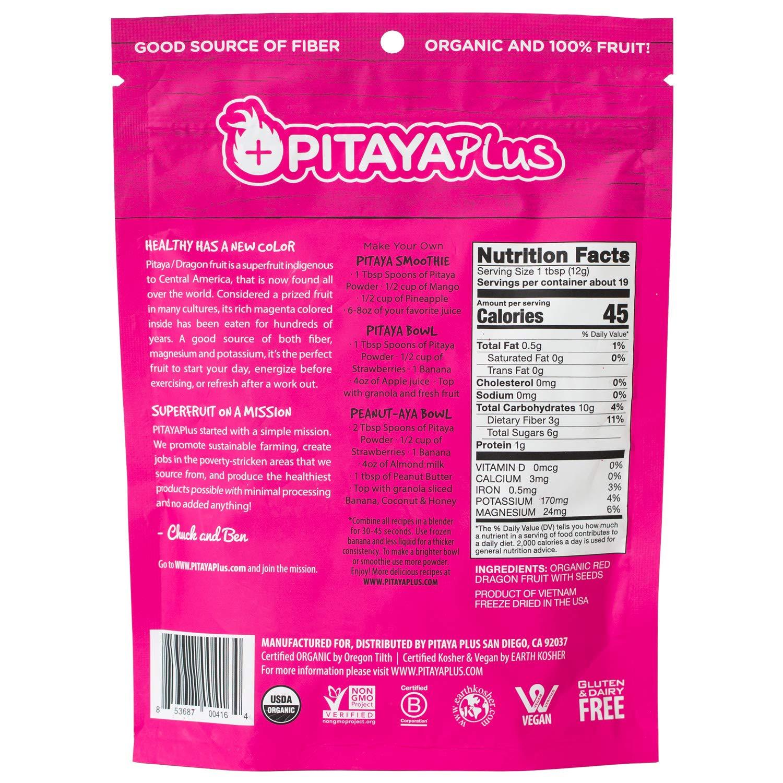 Pitaya Plus Freeze Dried Red Dragon Fruit Powder Organic. 8 Ounces of 100% Dragon Fruit for the Brightest Pink Rceipes. USDA and Oregon Tilth Organic, Non-GMO, Earth Kosher, Vegan Verified, B-Corp. by Pitaya Plus (Image #2)