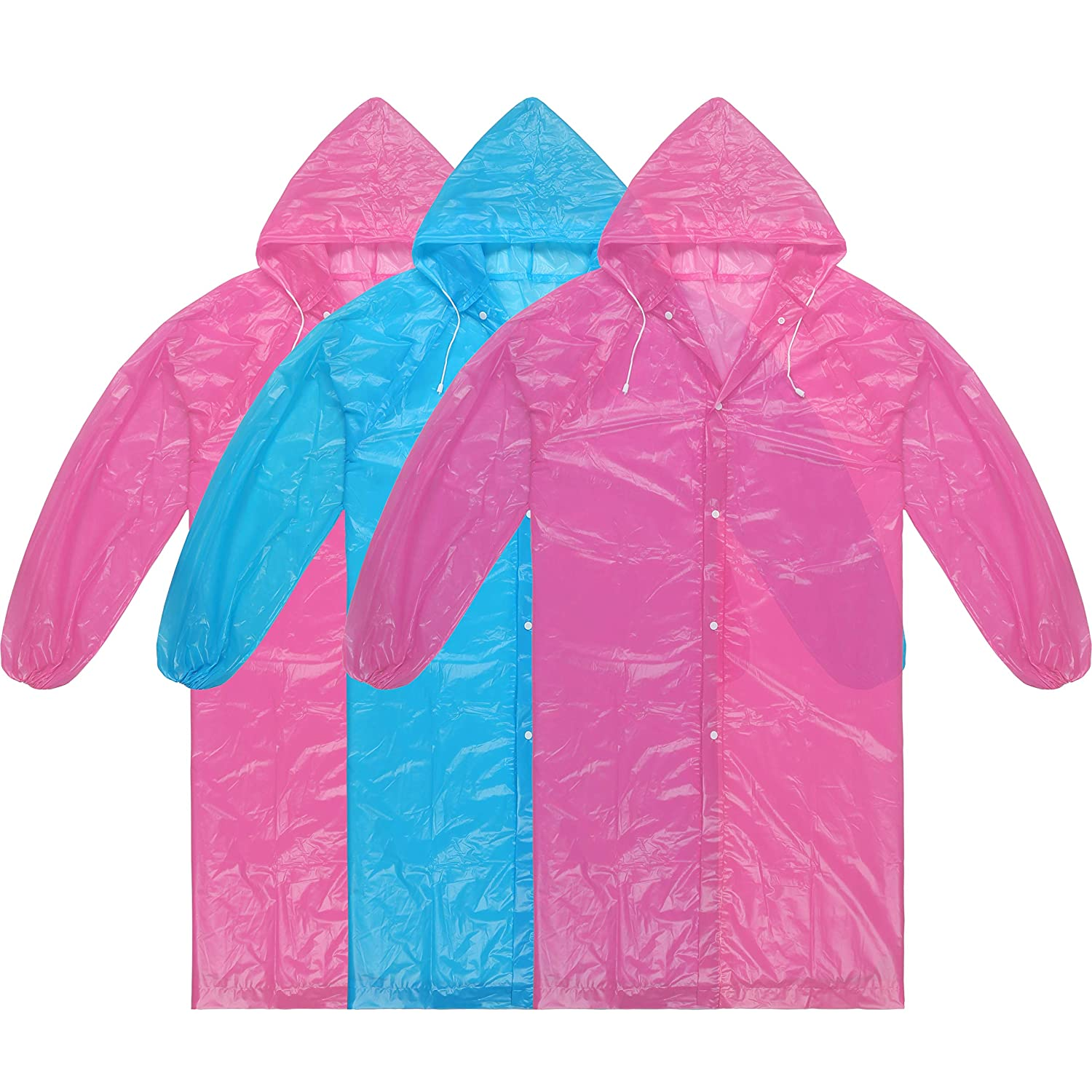Dsteng Rain Poncho Adult Ponchos Reusable Raincoat 3 Pack No Plastic SmellLight Weight and Perfect for Outdoor Activities