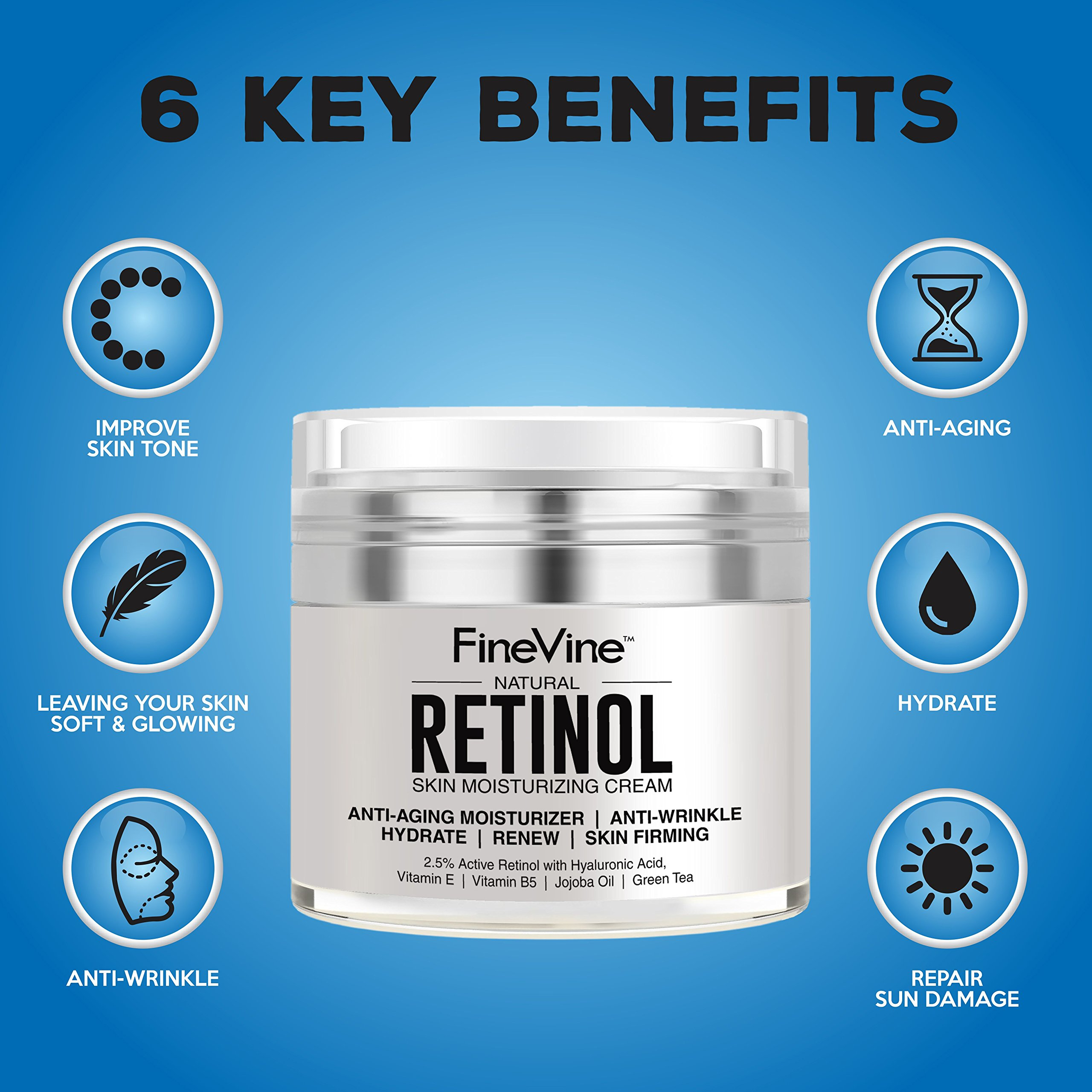Retinol Moisturizer Cream for Face and Eye Area - Made in USA - with Hyaluronic Acid, Vitamin E - Best Day and Night Anti Aging Formula to Reduce Wrinkles, Fine Lines & Even Skin Tone. by FineVine (Image #8)