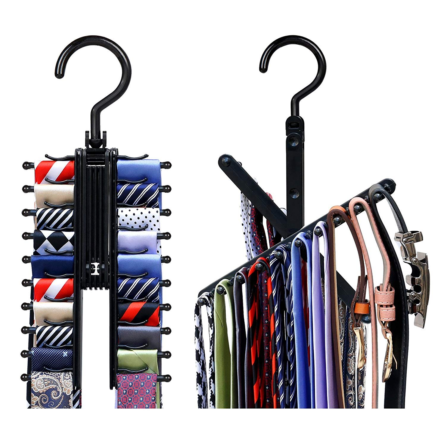 Rotate to Open/Close Upgraded Secure Tie Belt Racks,See Everything Extended Cross X Tie Hanger Organizer,Space Saving Black Non-Slip Clips Holder Hang up to 20 Ties 360 Degree Swivel Erlvery DaMain