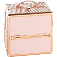 Beautify Beauty Case Professional Small Lockable Vanity Make Up Cosmetics Storage Organiser - Blush Pink Stripe/Rose Gold