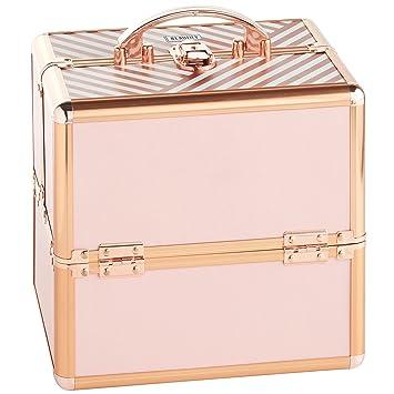 e97cbd98aab7 Beautify Makeup Cosmetic Organizer Train Case 10 quot  Professional  Aluminum Storage Box Blush Pink Stripe with