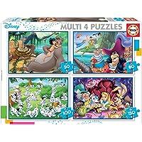 Educa - Disney Aladdin, el Libro de la Selva, Alicia, Peter Pan Conjunto de Puzzles Progresivos, Multicolor (18105)