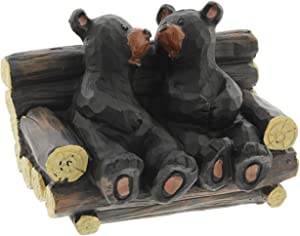The Bridge Collection Couple Sitting on a Bench Figurine (Black Bear)