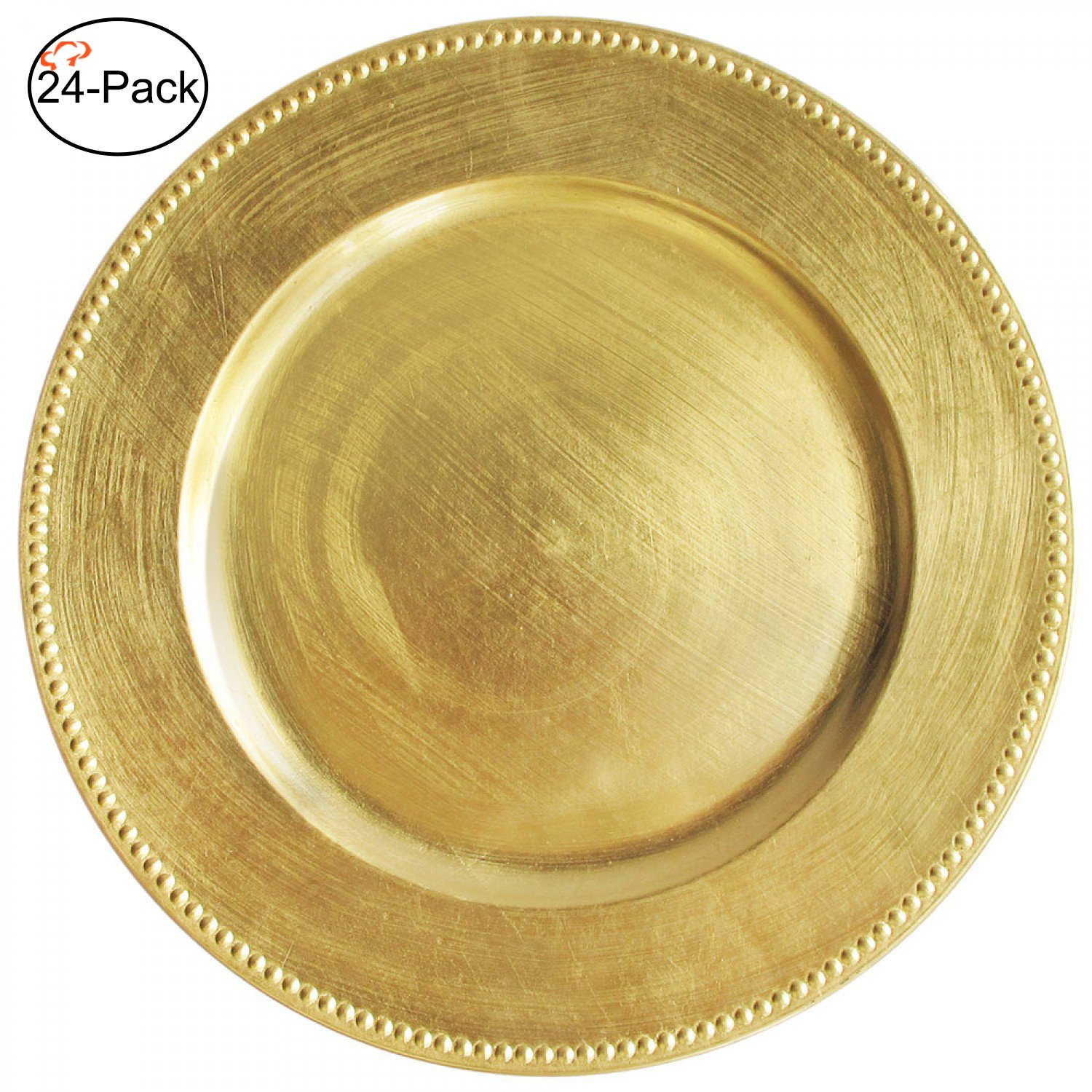 Tiger Chef 13-inch Gold Round Beaded Charger Plates, Set of 2,4,6, 12 or 24 Dinner Chargers (24-Pack)