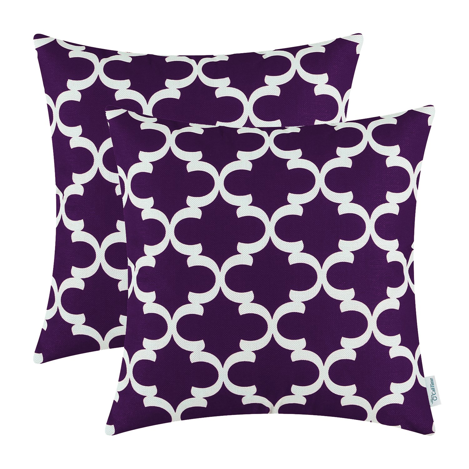CaliTime Pack of 2 Soft Canvas Throw Pillow Covers Cases for Couch Sofa Home Decor Modern Quatrefoil Accent Geometric 20 X 20 Inches Deep Purple