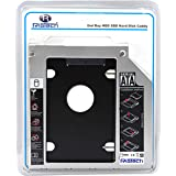RiaTech Hard Drive SATA 2nd HDD Caddy Tray for Universal 9.5mm Laptop CD/DVD-ROM Drive Slot (Replacement Only for SSD and HDD)