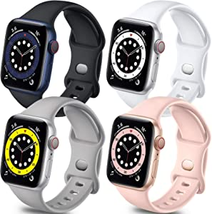 Getino Band Compatible with Apple Watch 40mm 38mm iWatch SE & Series 6 5 4 3 2 1, Stylish Soft Silicone Breathable Replacement Strap for Women Men, 4 Pack, Black, Pink Sand, Pebble Gray, White, S/M