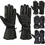 Mens Motorbike Gloves Cold Weather Motorcycle Riding Glove Genuine Leather Black