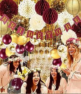 Qian's Party Bridal Shower Decorations Burgundy Gold/Fall Wedding Decor Polka Dot Fans Bride to Be Banner Gold Foil Fringe Curtains Engagement Photo Backdrop/Burgundy Bachelorette Party Decorations