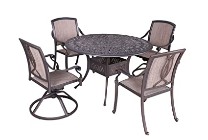 Magnificent Amazon Com Ipatio Athens 5Pc Sling Dining Set 48 Round Squirreltailoven Fun Painted Chair Ideas Images Squirreltailovenorg