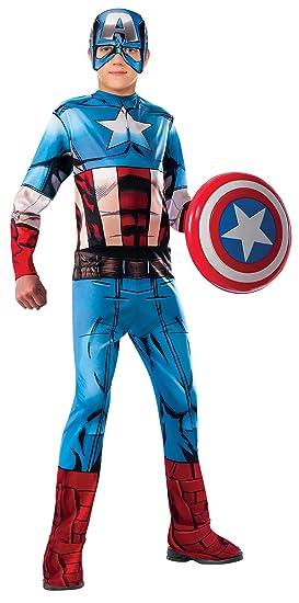 Rubies 620019-L Avengers - Disfraz Capitán América para Niño, Talla L (8-10 años)