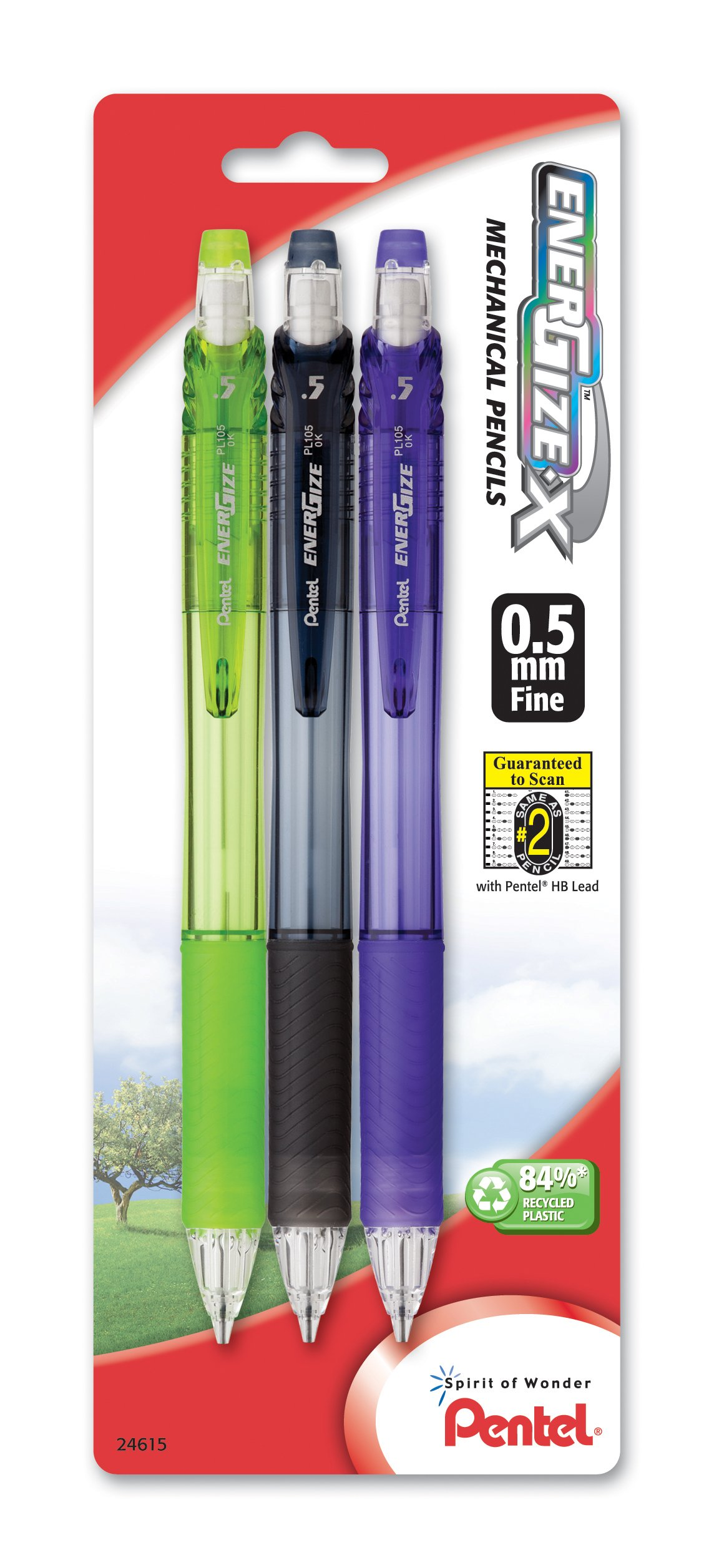 3 x Pentel EnerGize-X lápiz mecánico, 0,5mm, barril colores