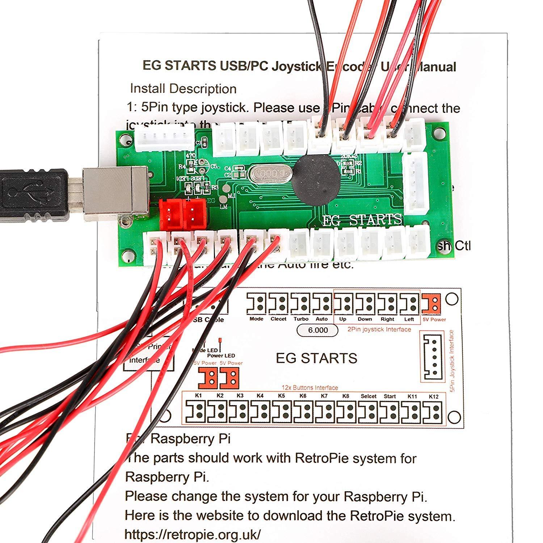 EG STARTS Classic Happ Style Arcade DIY Parts Kit para 2 ...