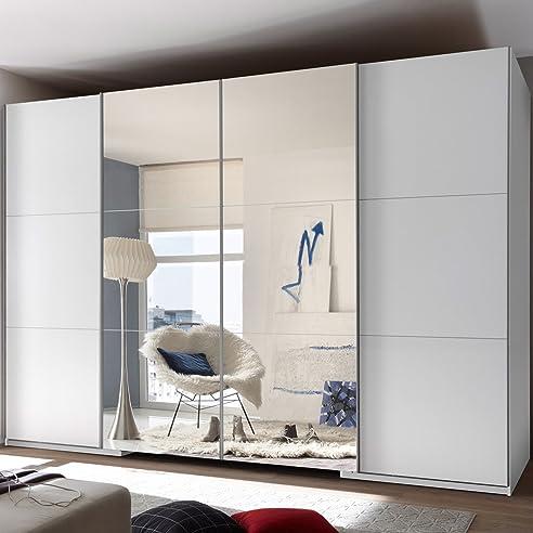 Kleiderschrank weiß spiegel  Stella Trading Big 4-türiger Kleiderschrank, Holz, weiß/spiegel ...