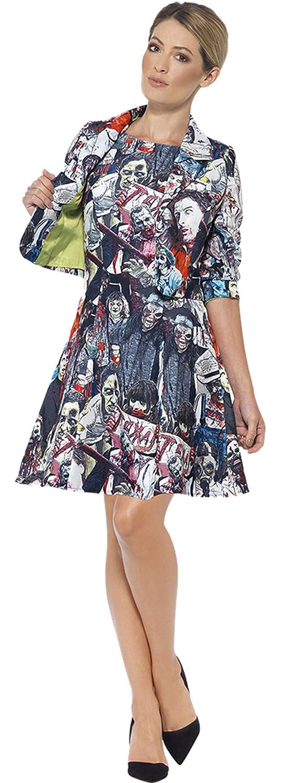 Zauberclown Damen Zombie Suit Kleid Kostüm Karneval Halloween, Mehrfarbig, Größe M/L