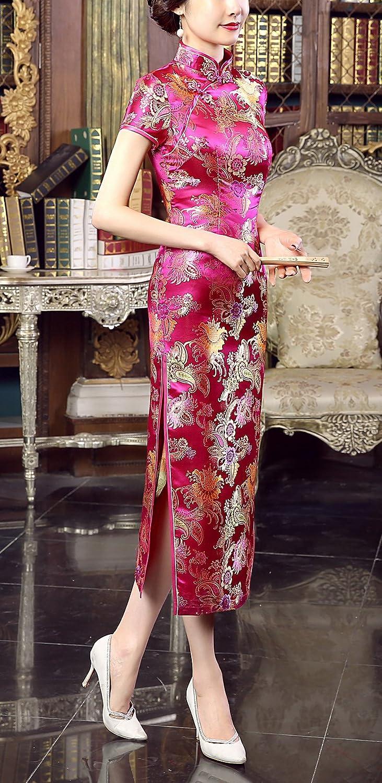 ACVIP Damen Kurzärmelige Cheongsam Qipao Hochzeitkleid Blume Drucken  Rosenrot/Gold: Amazon.de: Bekleidung