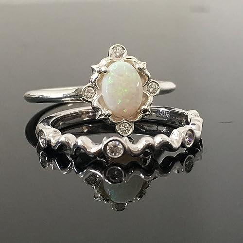 Etonnant 0.925 Sterling Silver Opal Engagement Ring Set   Silver Vintage Inspired  Opal And Diamond Bridal Set