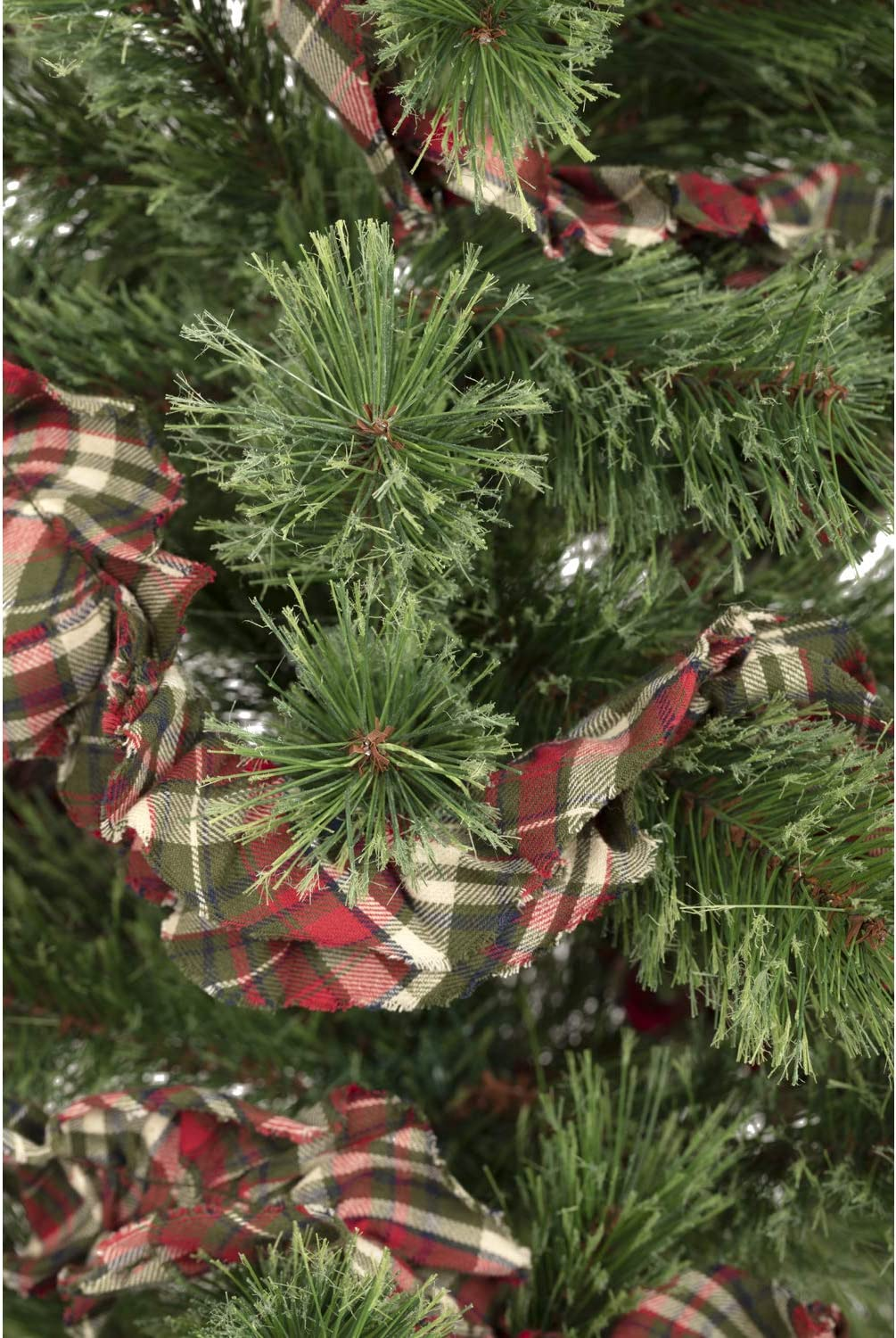 VHC Brands Rustic & Lodge Holiday Christmas Decor - Forreston Rag Garland Set of 3, 9 ft, Plaid