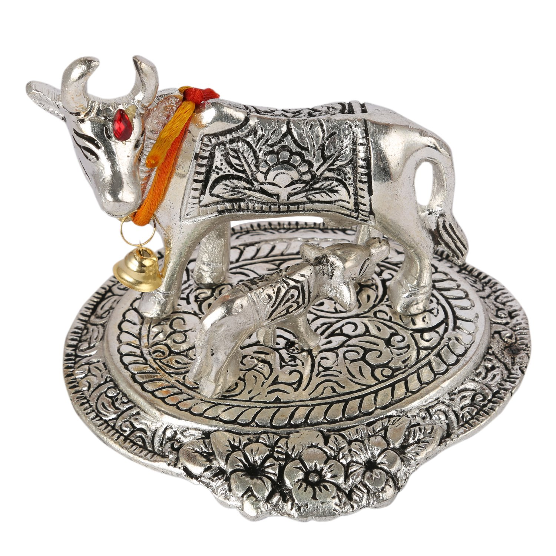 Aatm Decorative & Attractive Brass Figurine Statue Handicraft in Cow & Calf Shape   Holy Kaamdhenu   Best Use for Home Decoration/Shop 