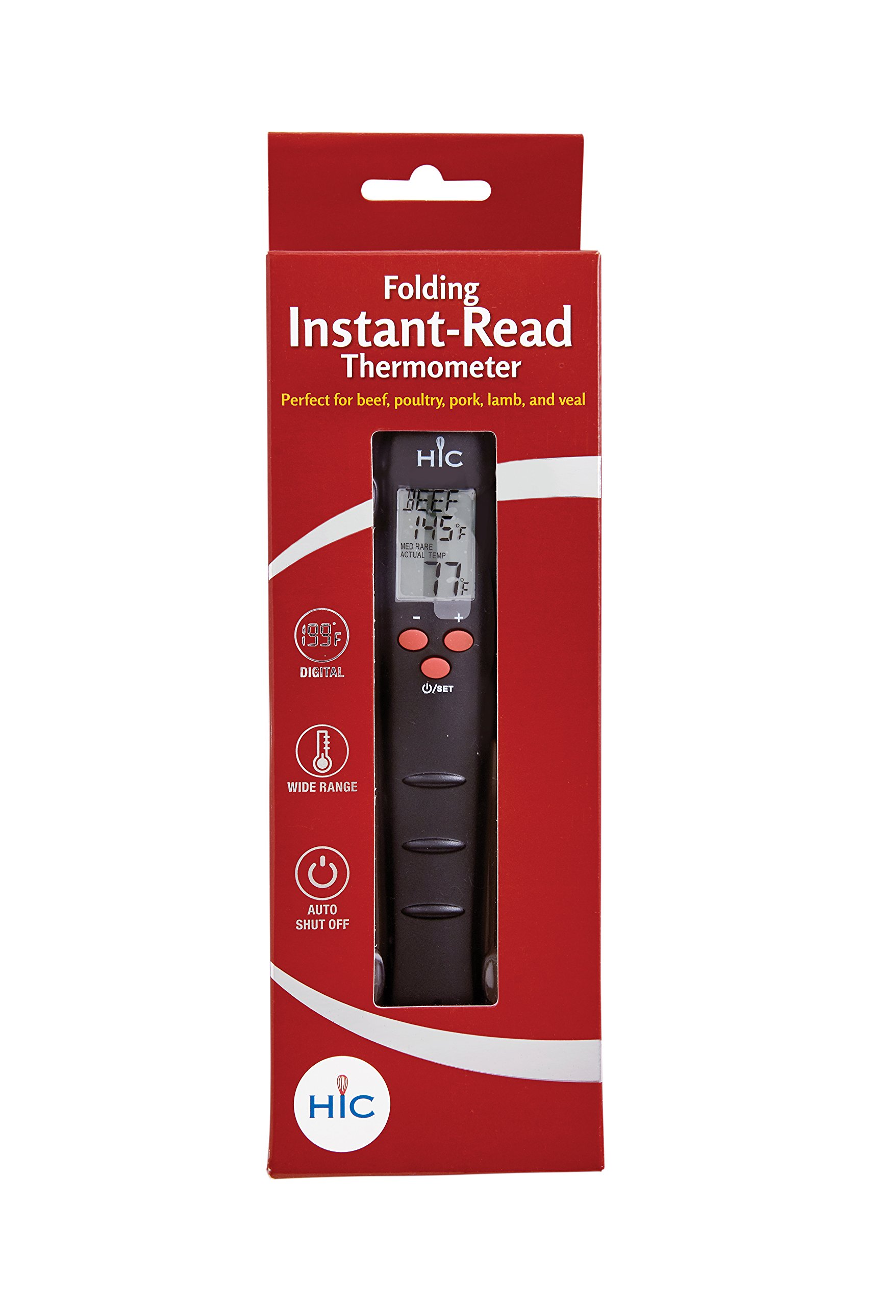 HIC Roasting Folding Instant-Read Digital Meat Thermometer 29010, LCD display with 5-Second Response Time and Stainless Steel Stem