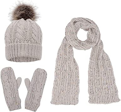 Women Winter Warm Woolen Beaded 3 Pieces Knitted Beanie Gloves Winter Set Scarf