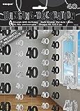 Unique Party - 55345 - Paquet de 6 Décorations de 40e Anniversaire Suspendues - 1,5 m - Noir Glitz