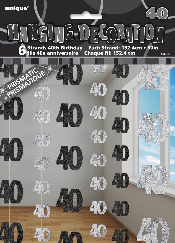Unique Party 55332-1.5 m Decorazioni da Appendere per 18/° Compleanno Blu Brillante Confezione da 6