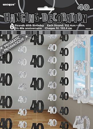 Unique Party- Paquete de 6 decoraciones de 40 cumpleaños, Color negro, Edad (55345)