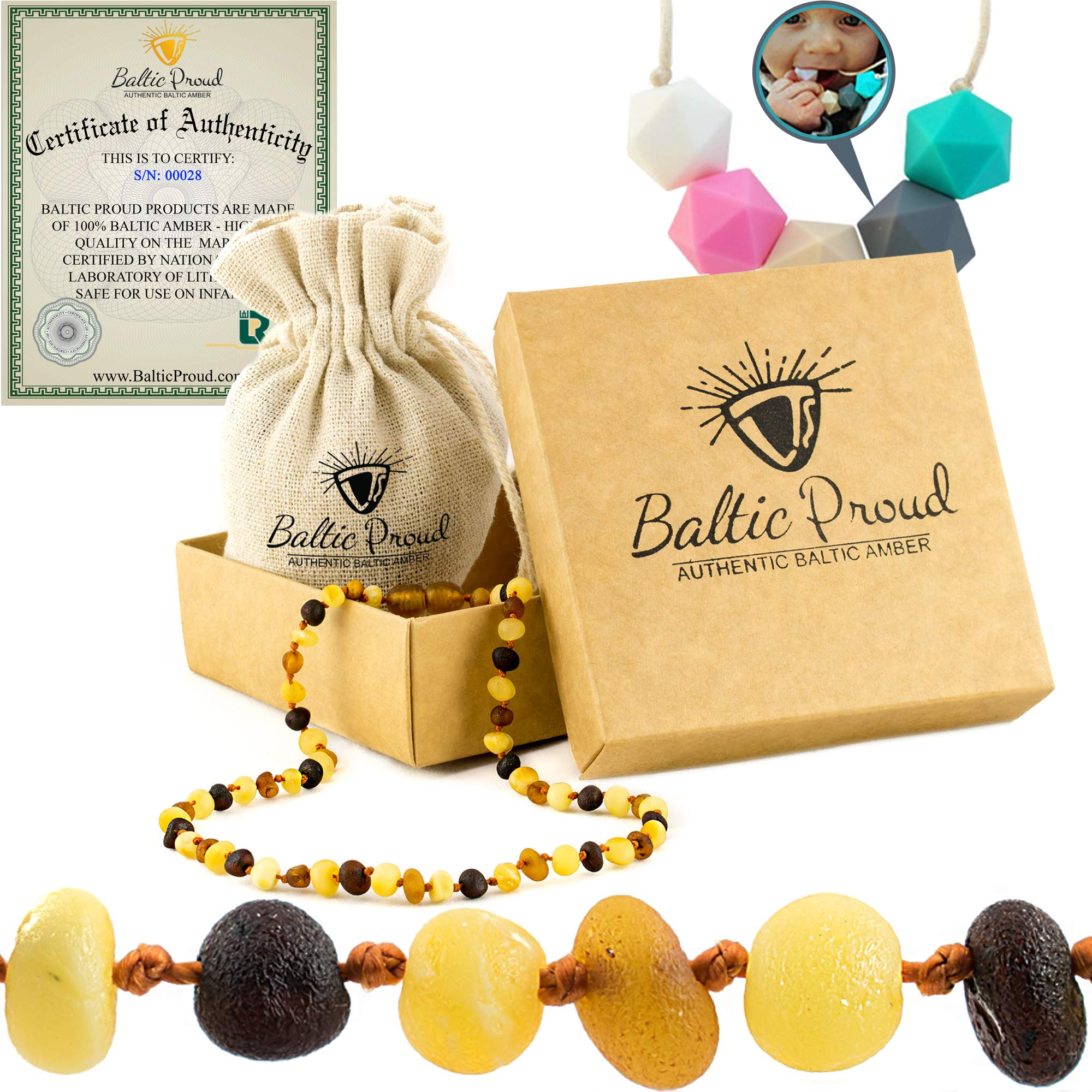 Amber Teething Necklace For Babies Gift Set (Unisex)(Multi Raw) + FREE Silicone Teething Necklace - Anti Inflammatory, Natural Drooling & Teething Pain Relief, Highest Quality, Certified Baltic Amber by Baltic Proud