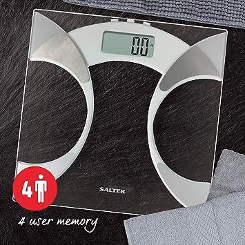 Salter Ultra Slim Analyzer Básculas de baño, Medición Peso BMI Porcentaje de grasa corporal Agua corporal, Diseño delgado de 25 mm, Vidrio resistente de 6 ...