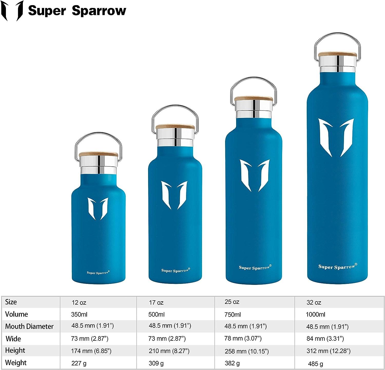 sans BPA Casquette Sport avec Bouchon Standard Super Sparrow Bouteille deau /à Double paroi isol/ée en Acier Inoxydable 1000ml Bouteille de Sport /étanche /à la Fuite