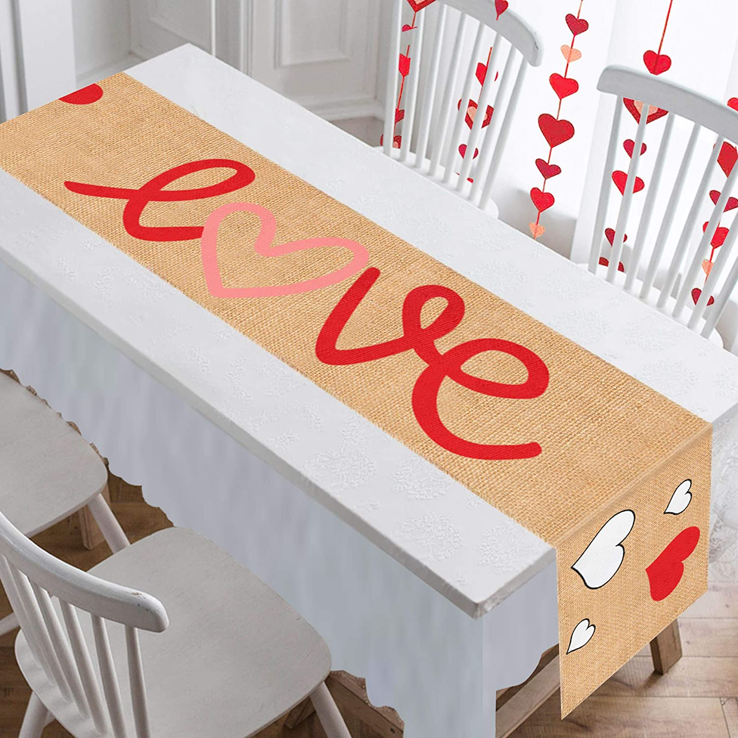 Pink Table Decoration Valentine/'s Day Centerpiece Valentine/'s Day Table Runner Valentine/'s Day Decorations Pink Hearts Table Runner