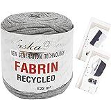 NASKA FABRIN ファブリン リサイクル Tシャツヤーン オリジナル編み図セット col.204 ライトグレー 系 N-85-1