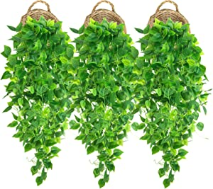 3 Pcs Artificial Hanging Plants 3.6ft Fake Ivy Vines Faux Ivy Leaves Hanging Wall Plants for Home Decor Room Garden Wedding Indoor Outdoor Decorations Hanging Greenery (No Basket)