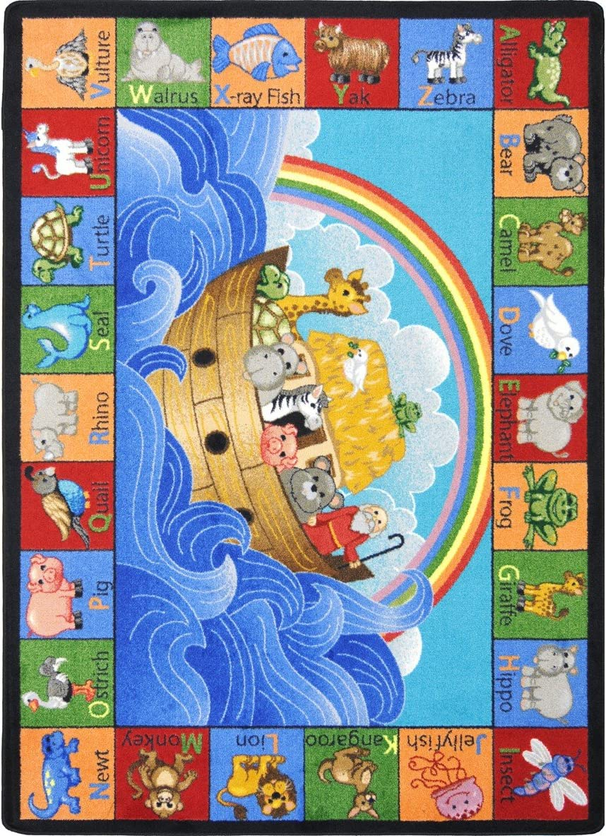 Joy Carpets Kid Essentials Inspirational Noah s Alphabet Animals Area Rug, Multicolored, 5 4 x 7 8