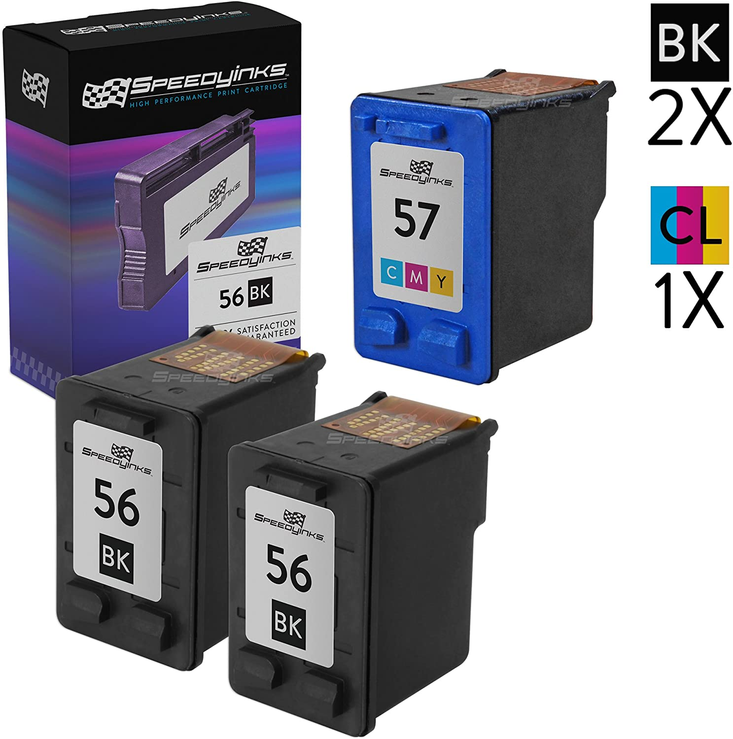 Speedy Inks Remanufactured Ink Cartridge Replacement for HP 56 & HP 57 (2 Black, 1 Color, 3-Pack)